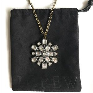 J. Crew Long Crystal Pendant Necklace